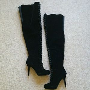 Brand New Never been worn black faux suede boots!